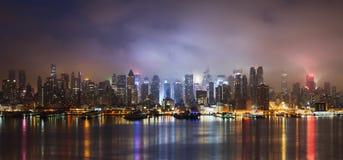 New York skyline. Under rain at night Stock Photography