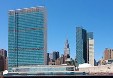 New York skyline with United Nations Building. Skyline of New York, with United Nations building and Chrysler building Stock Photography