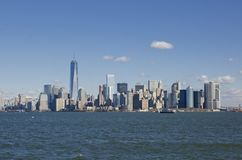 New york skyline. United States of America. Nice view from Liberty Island to the New York Skyline stock image