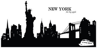New York Skyline. Vector illustration of the skyline cityscape of New York, USA Stock Images