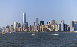 New York Skyline view from Hudson. River and One World Trade Center Royalty Free Stock Photos