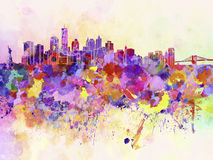 New York skyline in watercolor background Stock Images