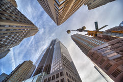 New york skyscrapers. Skyscrapers and trafficlights in  new york city Stock Image