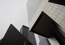 New York Skyscrapers. These are some buildlings in New York. The photo captures various shapes of a several buildings from an angle Royalty Free Stock Image