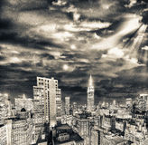 New York. Skyscrapers of Manhattan at dusk from rooftop Stock Photos