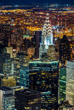 New York skyscrapers at night Stock Photos