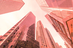 The new york skyscrapers vew from street level Stock Images
