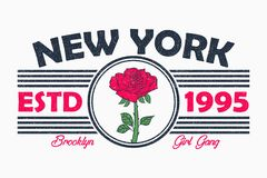 New York slogan typography with rose flower. Brooklyn girls t-shirt graphics in retro style with grunge. Vector. royalty free illustration