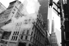 New York, smoke and skyscraper. Business and finance stock image
