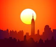 New York Solnedgång-vektor Arkivbilder