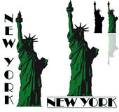 New York. Some New York Liberty Statue icons, logos and silhouette Royalty Free Stock Photography