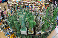 New york souvenirs. Lots of statues of liberty in a souvenirs shop Royalty Free Stock Photos