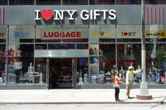 New York Souvenirs. A souvenirs store in Midtown Manhattan that sells New York merchandise, including the I heart NY (TM) designs royalty free stock images