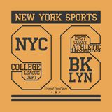 T-shirt graphics. New York Sport wear typography emblem, american football,vintage, college ,superior, sports graphics for t-shirt Stock Photos