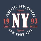 New York sports apparel. Typography emblem for t-shirt. Design for athletic clothes print. Vector. New York sports apparel. Typography emblem for t-shirt Royalty Free Stock Photography