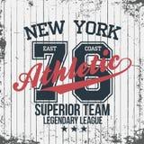 New York sportswear emblem. Athletic university apparel design with lettering. T-shirt graphics. Vector stock illustration