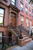 New York stad/USA - JULI 10 2018: Gamla byggnader av Brooklyn H Fotografering för Bildbyråer