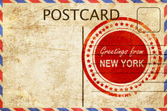 New york stamp on a vintage, old postcard Royalty Free Stock Photos