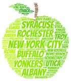 New York State apple. Green apple illustrated with cities of New York State on white Royalty Free Stock Photo