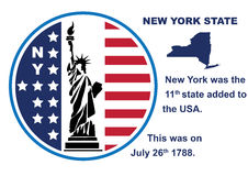 New York State button with map and statue of liberty. Button in the US flag color: red white and blue. New York with eleven 11 stars repesenting the number of Royalty Free Stock Image