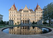 New York State Capitol reflection stock photos