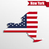 New York State map with US flag inside and ribbon Stock Images
