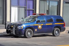 New York State Trooper Police Car in Buffalo, NY, USA. New York State Trooper Chevy Tahoe Police Car in downtown Buffalo, New York, USA Royalty Free Stock Photos