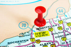 New York state USA map. Close up of New York state USA map with red pin - Travel concept royalty free stock images