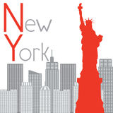 New York Statue of Liberty on the background vector illustration