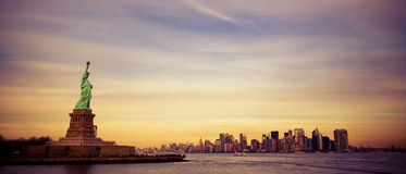 New York, Statue Of Liberty, Financial District stock images
