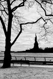 New York statue of liberty vertical silhouette b&w Stock Images