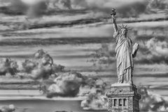 New York statue of liberty vertical silhouette b&w Royalty Free Stock Image