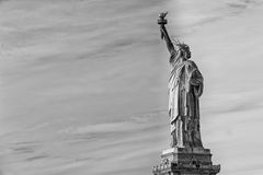 New York statue of liberty vertical silhouette b&w Royalty Free Stock Images