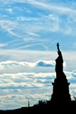 New York statue of liberty vertical silhouette Royalty Free Stock Photos