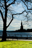 New York statue of liberty vertical silhouette Stock Photography
