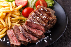 New York steak with french fries Royalty Free Stock Image