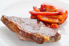 New York steak with grilled bell pepper Stock Photo