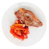 New York steak with grilled bell pepper, isolated Royalty Free Stock Photo