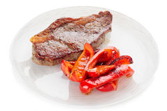 New York steak with grilled bell pepper, isolated Stock Photo