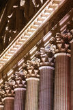 The New York Stock Exchange. Columns of the New York Stock Exchange at night stock photography