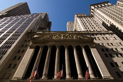 The New York Stock Exchange. Facade of the NY Stock Exchange in downtown Manhattan stock image