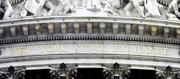 New York Stock Exchange. Gold sign on the building Stock Exchange in New York, US,Photo taken on Sep 24th,2010 Royalty Free Stock Photography