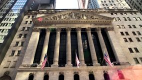 New York stock exchange building at day time exterior. New York, USA - September 6, 2018: New York stock exchange building at day time exterior stock video footage