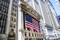 New York Stock Exchange building in New York City. NEW YORK, April 29: An American flag hangs on the front of the New York Stock Exchange building in New York Stock Images