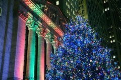 New York Stock Exchange Christmas Tree. Beautiful Christmas Tree at the New York Stock Exchange on Wall Street Royalty Free Stock Photography