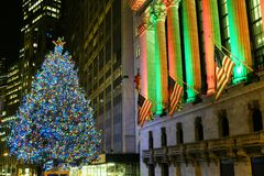 New York Stock Exchange Christmas Tree. Beautiful Christmas Tree at the New York Stock Exchange on Wall Street stock image