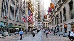 New York Stock Exchange lokaliserade på Wall Street på det finansiella området i lägre Manhattan Arkivfoto