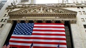 New York Stock Exchange lokaliserade på Wall Street på det finansiella området i lägre Manhattan Fotografering för Bildbyråer