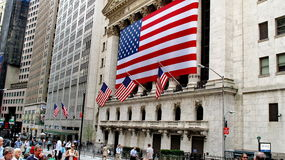 New York Stock Exchange lokaliserade på Wall Street på det finansiella området i lägre Manhattan Royaltyfria Foton