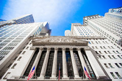 New York Stock Exchange in Manhattan Finance district. View of the building in the sky Stock Photography